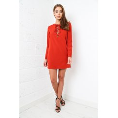 Tie-up Long Sleeved Shift Dress in Orange
