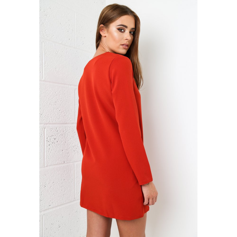 Tie Up Long Sleeved Shift Dress In Orange