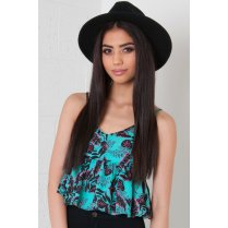 Turquoise Floral Print Peplum Cami