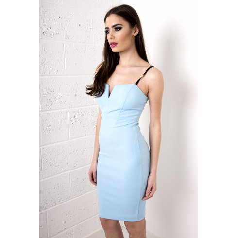 V-Neck Bodycon Midi Dress in Blue