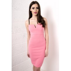 V-Neck Bodycon Midi Dress in Pink