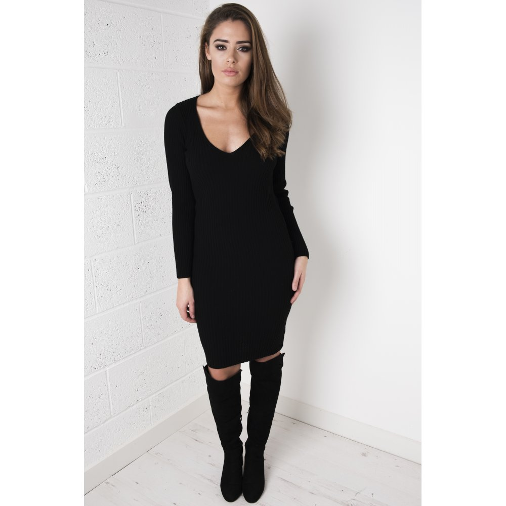 Black v neck jumper dress
