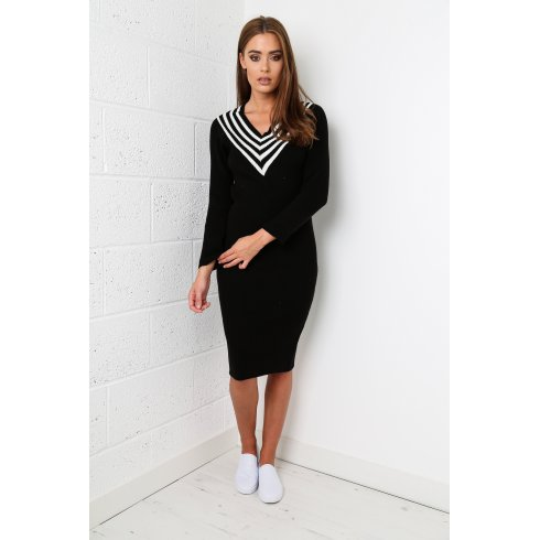 V-Neck Sports Luxe Jumper Dress in Black