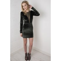 Velvet Mini Dress with Mesh Insert in Khaki