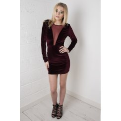 Velvet Mini Dress with Mesh Insert in Wine