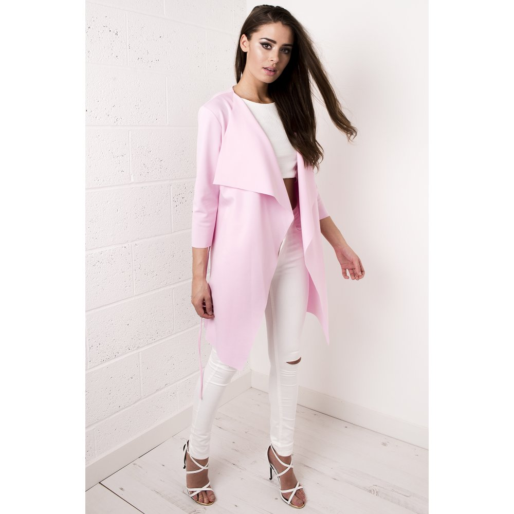 Waterfall Belted Jacket In Light Pink