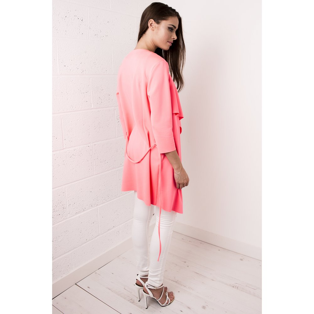 Waterfall Belted Jacket in Neon Pink - from Miss Foxy UK