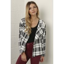 Waterfall Checked Jacket in Monochrome