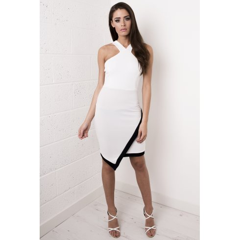White Asymmetric Midi Dress