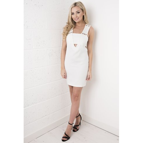 White Cut-out Ring Dress