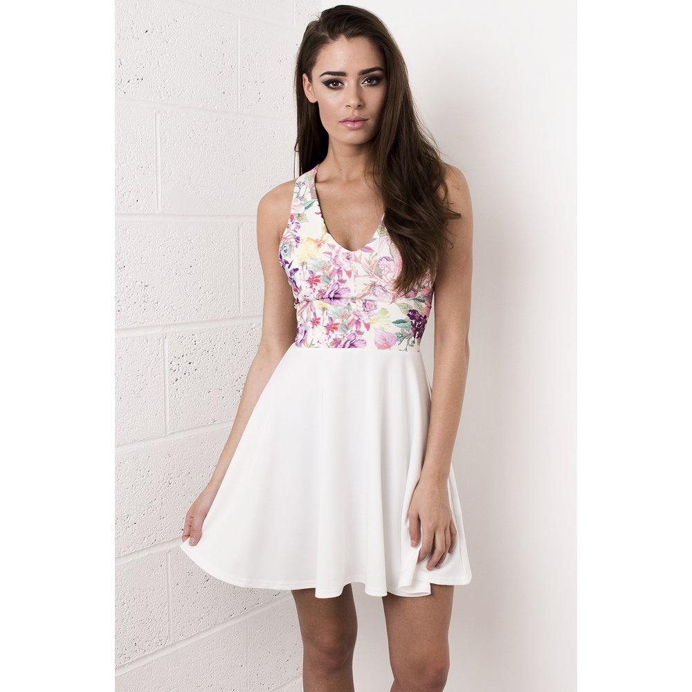 pink and white floral skater dress