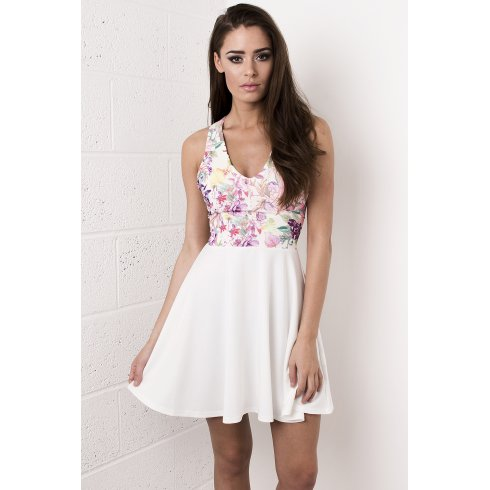 White Floral Bow Skater Dress