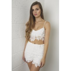White Floral Lace Bralet Crop Top