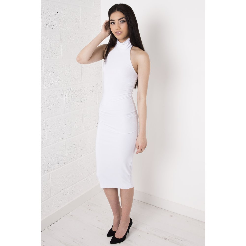 Halter Neck Bodycon Midi Dress