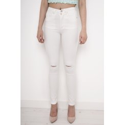 White High Waisted Skinny Jeans with Rip Detail