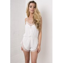 White Lace Eyelash Playsuit