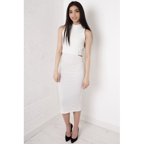 White Overlay Polo Midi Dress