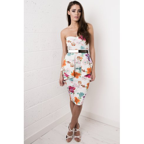 White Peplum Strapless Floral Dress
