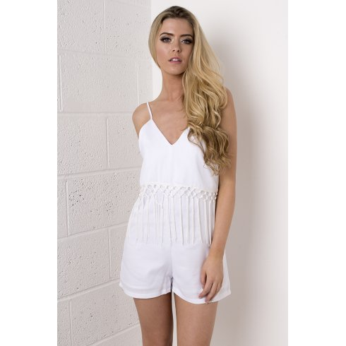 White Tasselled Fringe Playsuit