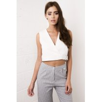 White Wrap D-Ring Crop